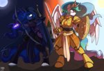 anthro armor bow_(weapon) greennpc highres princess_celestia princess_luna shield sword weapon
