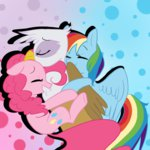 gilda hugs pinkie_pie rainbow_dash waackery