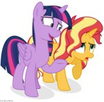absurdres highres princess_twilight sunset_shimmer suramii twilight_sparkle vector
