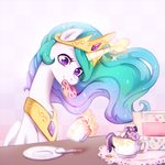 cake jumblehorse magic princess_celestia spoon tea teacup twilight_sparkle