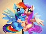 fluttershy highres hugs rainbow_dash thediscorded