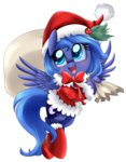 absurdres bag boots christmas coat hat highres pridark princess_luna santa_hat transparent young