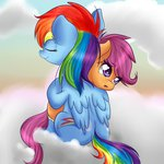 chiweee highres hugs rainbow_dash scootaffection scootaloo