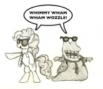 artist_unknown crossover futurama glasses grayscale lineart pinkie_pie slurms_mckenzie sunglasses tie