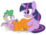 dm29 princess_twilight pumpkin pumpkin_carving spike twilight_sparkle