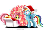 cardboard_box christmas fluttershy hat highres rainbow_dash santa_hat selinmarsou transparent