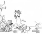 anthro apple_bloom baroncoon mouse original_character tortoise traditional_art