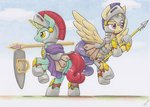 absurdres armor guard_pony helmet highres magic original_character shield spear traditional_art weapon xeviousgreenii