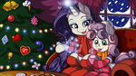 christmas christmas_tree highres hot_chocolate latecustomer rarity scarf sweetie_belle winter