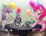 balloon its-gloomy maud_pie pinkie_pie rock table tea_party