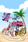absurdres applejack beach cart chibi-jen-hen crab fluttershy glasses hat highres main_six pinkie_pie py rainbow_dash rarity sand snorkel spike sunglasses tree twilight_sparkle umbrella