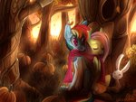 angel bread-crumbz flutterdash fluttershy forest highres pumpkin rainbow_dash scarf shipping