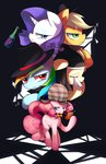 applejack bottle cigarette coat detective fluttershy hat highres mafia maren noir pinkie_pie pipe rainbow_dash rarity tears