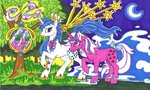 absurdres foldawaywings g1 highres majesty moon stars traditional_art tree twilight