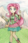 astevenamedwolf deer equestria_girls fluttershy highres humanized traditional_art