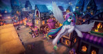 flowers flying highres l1nkoln lyra_heartstrings nighttime original_character ponyville scenery sunset_shimmer sweetie_drops twilight_sparkle