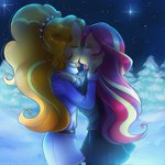 adagio_dazzle equestria_girls highres humanized jack-a-lynn kiss shipping snow sunset_shimmer