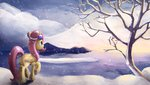 camyllea earmuffs fluttershy highres snow snowing winter