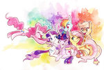 applejack fluttershy hugs lucky-phantom main_six pinkie_pie rainbow_dash rarity twilight_sparkle watercolor
