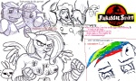 artist_unknown crossover fist_of_the_north_star flockdraw fluttershy humanized jurassic_park lineart pinkie_pie rainbow_dash spike
