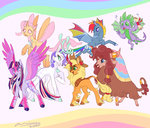applejack bat_pony changeling deer fat-bot fluttershy kirin main_six pinkie_pie princess_twilight rainbow_dash rarity scroll species_swap spike twilight_sparkle yak
