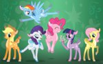 applejack deer fluttershy highres main_six pinkie_pie rainbow_dash rarity sirzi species_swap twilight_sparkle
