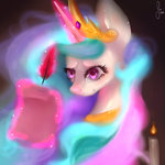 candle highres magic princess_celestia quill saoiirse scroll