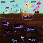 applejack apples cygaj fluttershy main_six mr_waddle pinkie_pie rain rainbow_dash rarity singing skeleton spike tombstone twilight_sparkle
