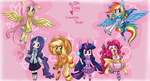 anime anime_as_fuck applejack dress fluttershy horn horse_ears humanized main_six pinkie_pie platina-jolteon rainbow_dash rarity tail twilight_sparkle