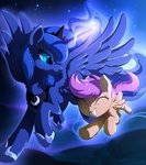 flying highres hioshiru-alter magic princess_luna scootaloo stars