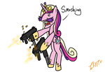 gun illkillyoutoo nigel_thornberry princess_cadance wat weapon why