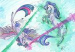 fight magic princess_twilight sagastuff94 starlight_glimmer traditional_art twilight_sparkle