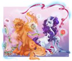 applejack brush cigarscigarettes flowers highres magic makeup mirror rarity ribbon