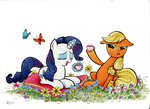 applejack ecmonkey highres rarity tea tea_party traditional_art