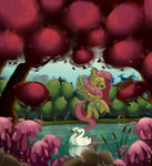 bird fluttershy flying forest jazzekat lake swan