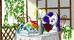 absurdres akweer chair flowers highres menu rainbow_dash rarity restaurant table vase