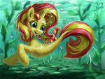 highres merponies sunset_shimmer swimming tinybenz underwater water