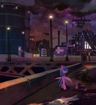 city dearmary dog highres nighttime original_character scenery