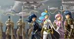 armor dirigible guard_pony humanized johnjoseco mantle princess_cadance princess_celestia princess_luna shining_armor spear sword weapon