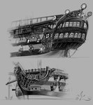 amarynceus cannon figurehead gun highres original_character princess_celestia princess_luna sailor ship weapon