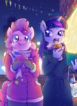 anthro coat cupcake highres kelsea-chan pinkie_pie scarf twilight_sparkle winter