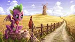 absurdres fence field flowers highres mouse road rysunkowasucharia scenery spike windmill