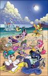 andy_price applejack beach book fluttershy kite pinkie_pie princess_celestia princess_luna princess_twilight rainbow_dash rarity shark spike spike_about_to_get_killed_by_rarity swimming swimsuit tiberius twilight_sparkle volleyball