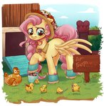 amidnighters bird boots chicken crayon flowers fluttershy hat hen highres