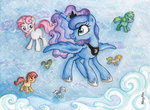 children_of_the_night filly highres moondancer nancyksu original_character princess_luna traditional_art