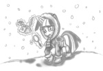 book coat grayscale highres inkwell leadhooves magic magnifying_glass quill saddle scarf sketch snow snowing twilight_sparkle winter