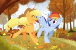 applejack askometa autumn highres leaves rainbow_dash running running_of_the_leaves trees