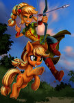 applejack arrow bow_(weapon) equestria_girls harwick highres humanized species_confusion