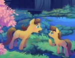 background_ponies caramel highres pond scenery tree viwrastupr