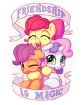 apple_bloom banner bobdude0 cutie_mark_crusaders highres hugs scootaloo sweetie_belle text
